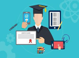 Clip-art of a graduate pointing at a certificate.