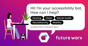"""Clipart of a person sitting at a desk using a computer and there is a large speech bubble """"Hi I am your accessibility bot.  How can I help? Hearing, Vision, Mental health, Neurodiversity, Mobility""""."""
