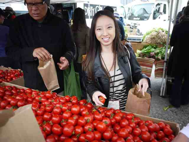 picking dry farmed tomatoes san francisco ferry building