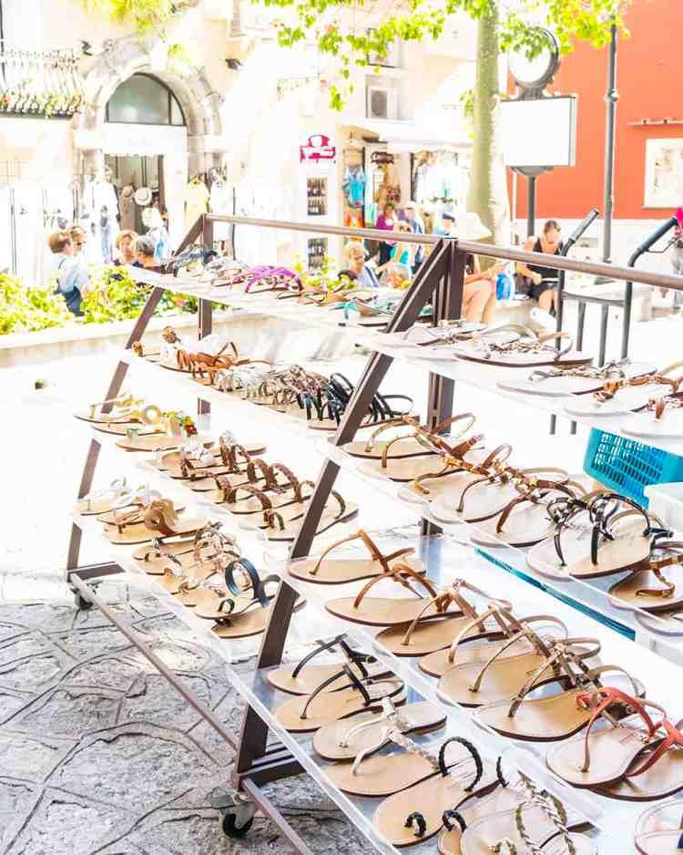 Leather sandals in Positano, Amalfi Coast