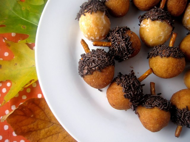 Easy Acorn Doughnut Holes