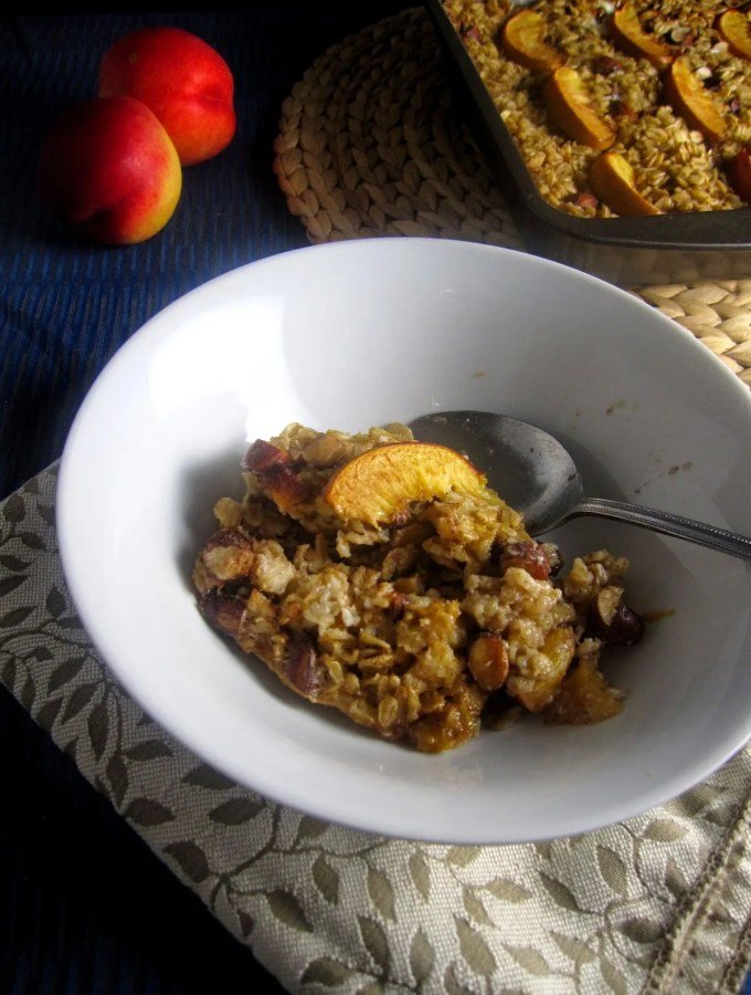 Baked Nectarine and Almond Oatmeal