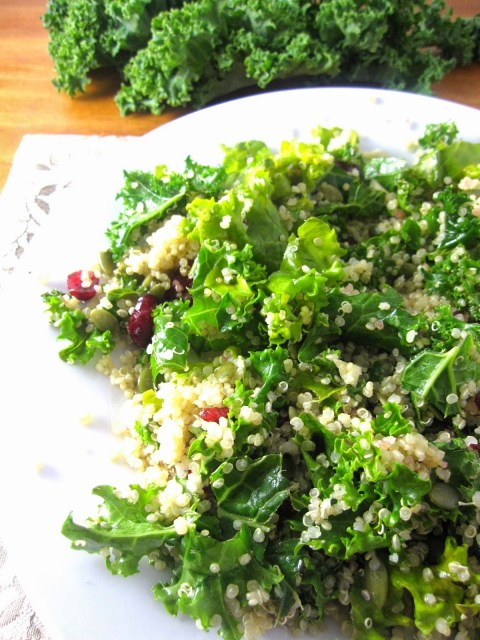 Kale, Quinoa and Cranberry Salad. Easy vegetarian healthy dinner