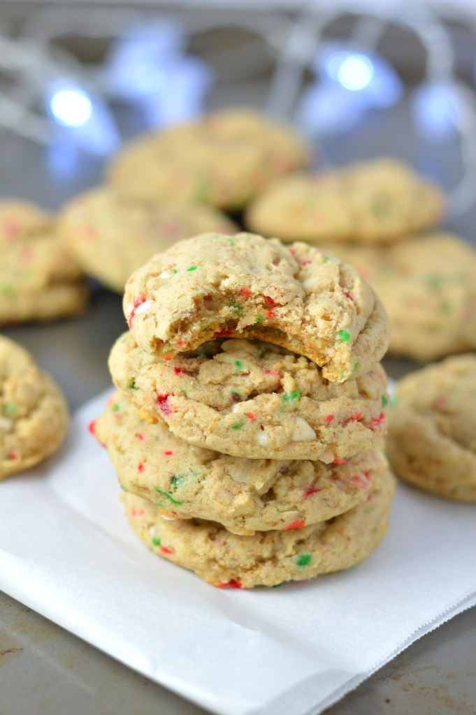 Peppermint Cookies made with crushed candy canes. Super easy to make, they are a great addition to your yearly Christmas cookie recipes.