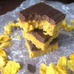 No Bake Chocolate, Peanut Butter and Corn Flakes Bars