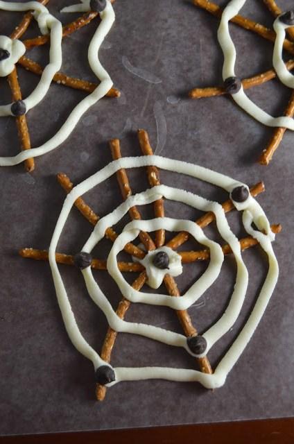 White Chocolate and Pretzel Spider Webs