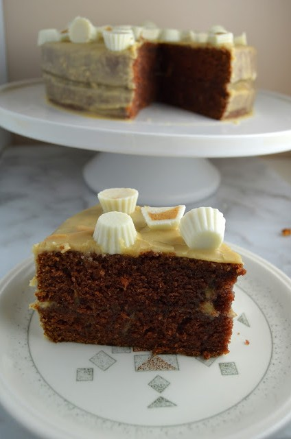 Chocolate Layer Cake with Peanut Butter Glaze