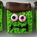 Frankenstein Rice Krispies Squares