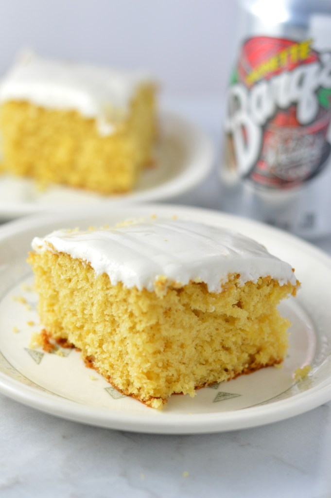 This Easy Root Beer Float Cake is made with a cake mix, so it is super simple and quick to whip up. Perfect for last minute birthday cakes.