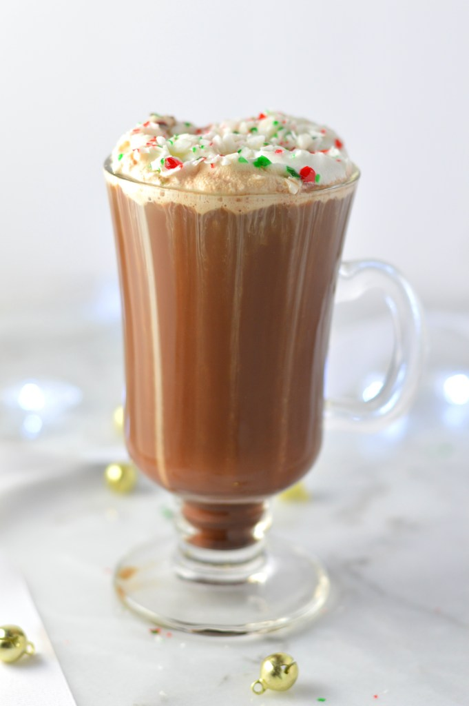 Peppermint Mocha recipe with coffee, peppermint extract and crushed candy canes. This tastes like the one from Starbucks made at home.