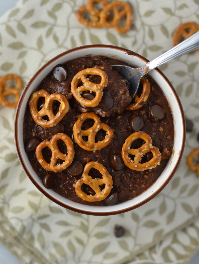 Pretzel Topped Brownie Oatmeal