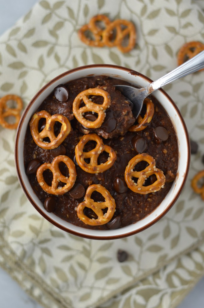Pretzel Topped Brownie Oatmeal recipe is a quick and easy breakfast idea to keep you full until lunch. So rich and decadent, it feels like dessert without the guilt.