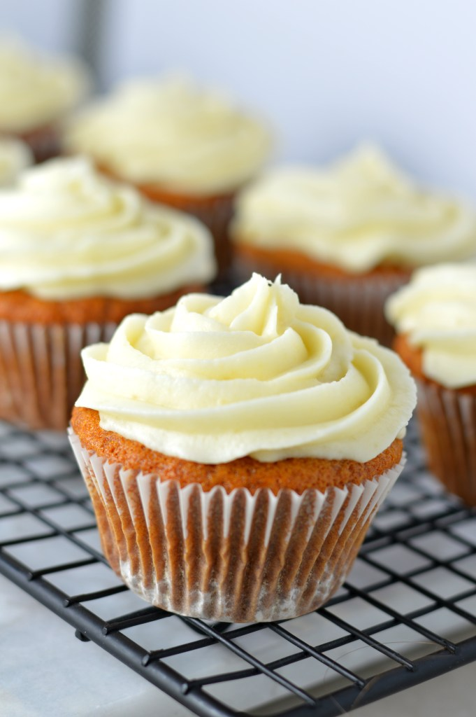 Easy Honey Cupcakes with Honey Cream Cheese Frosting recipe. Perfect nut free dessert idea to bring to birthdays or potlucks.