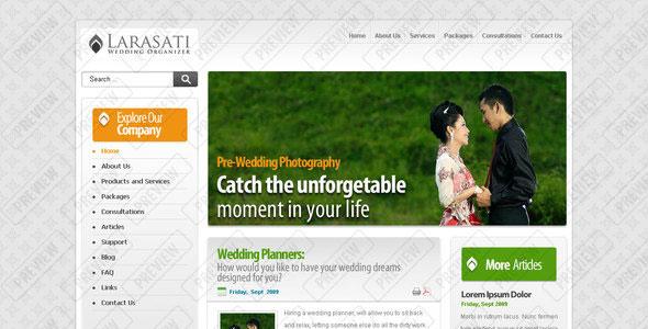 تحميل قالب Larasati Wedding مجانا PSD متعدد الأغراض