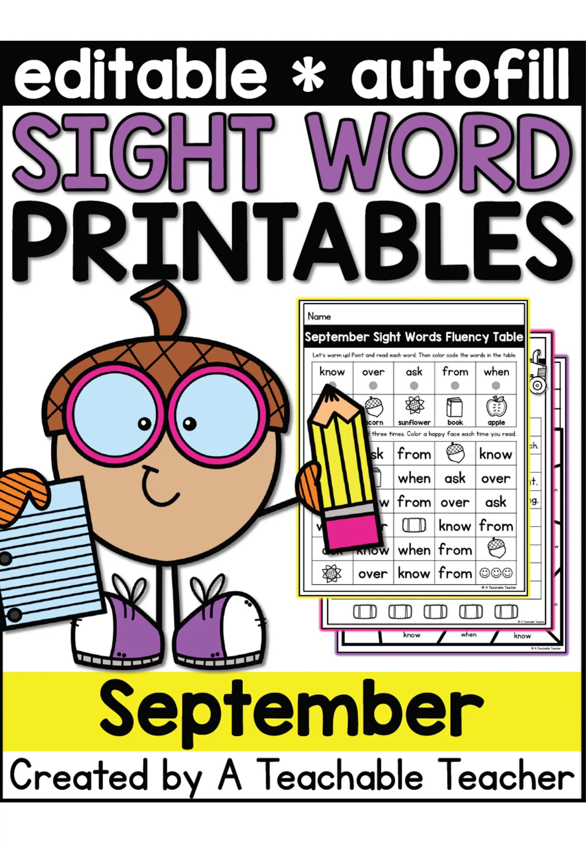 Editable Sight Word Printables September