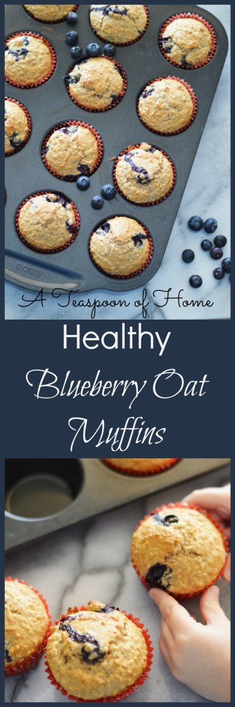 Healthy Blueberry Oat Muffins by A Teaspoon of Home
