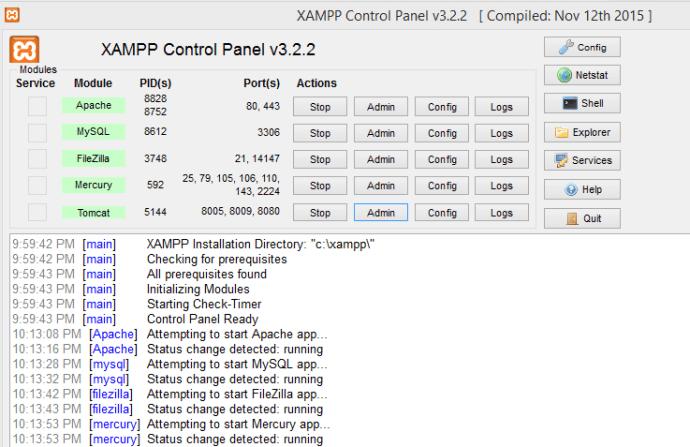 XAMPP Control Panel – Manage/Configure Apache, MySQL, FileZilla, Mercury and Tomcat Service