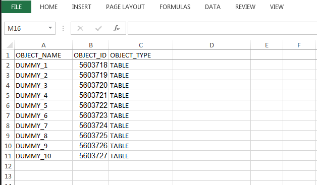 sample dummy table data