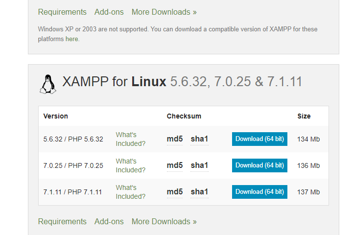 XAMPP with PHP 7.1.11, 7.0.25 & 5.6.32 versions released