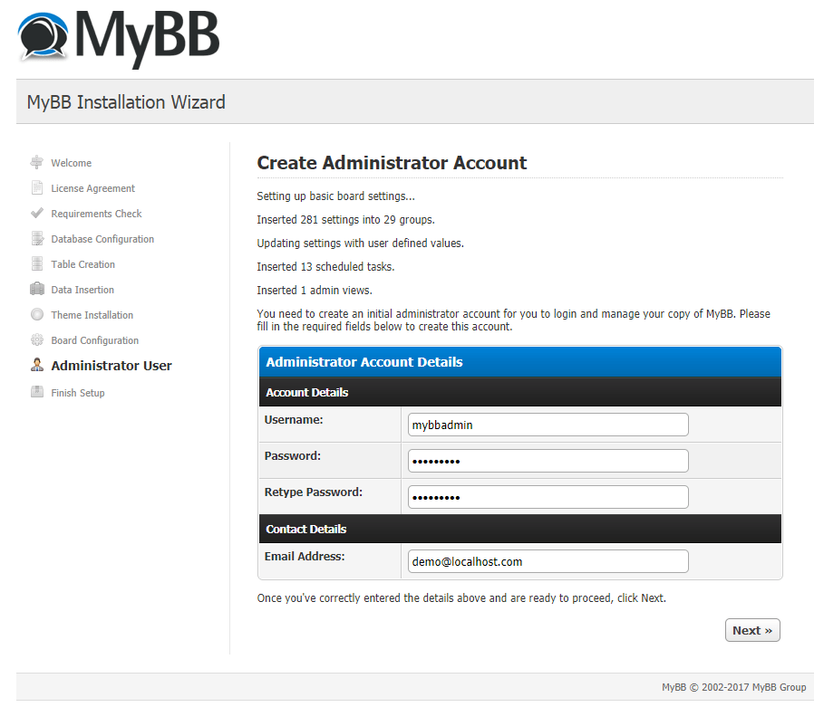 mybb create administrator account