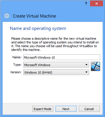 Virtual Machine Name and Operating System