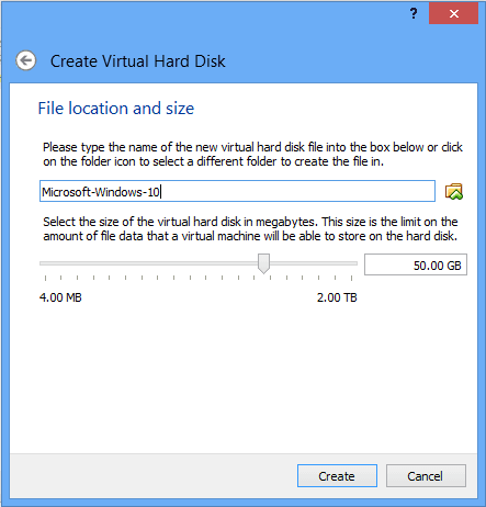 virtual machine file location and size
