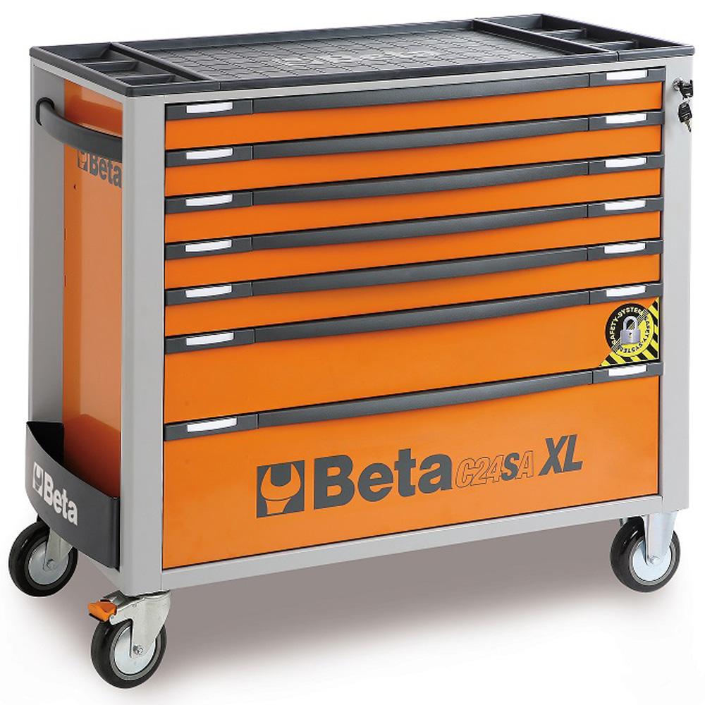 servante mobile a 7 tiroirs beta c24sa xl 7 o orange avec 7 tiroirs porte outils modele long
