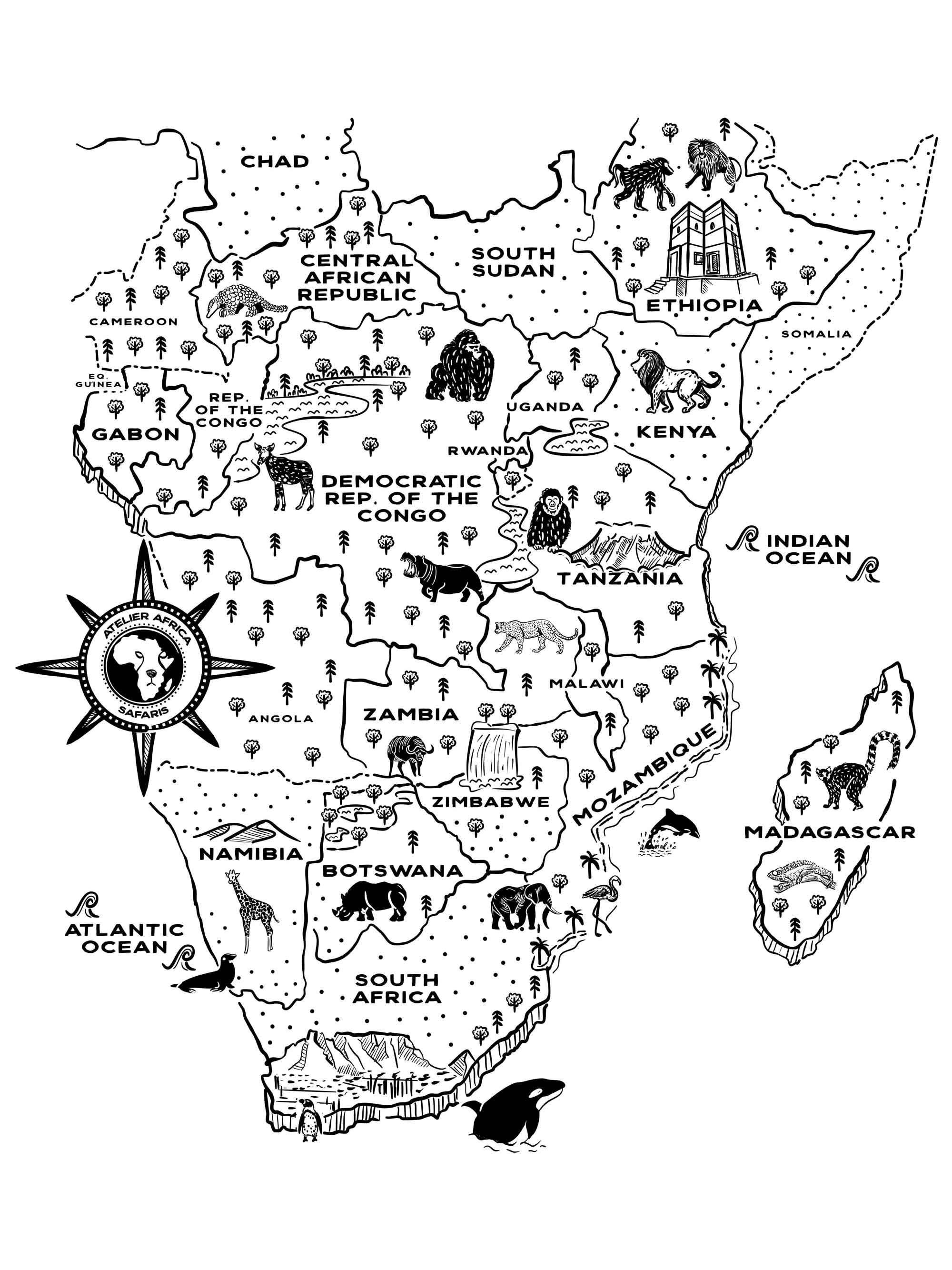 Atelier Africa Safaris | Destinations Map