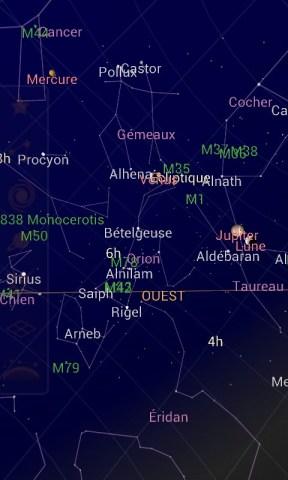 Ciel vu à l'aide de l'application Sky Map pour android