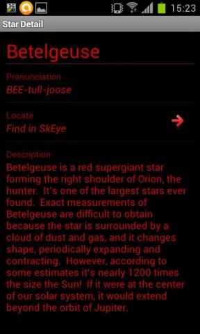 Informations sur une étoile dans l'application Star Odyssey
