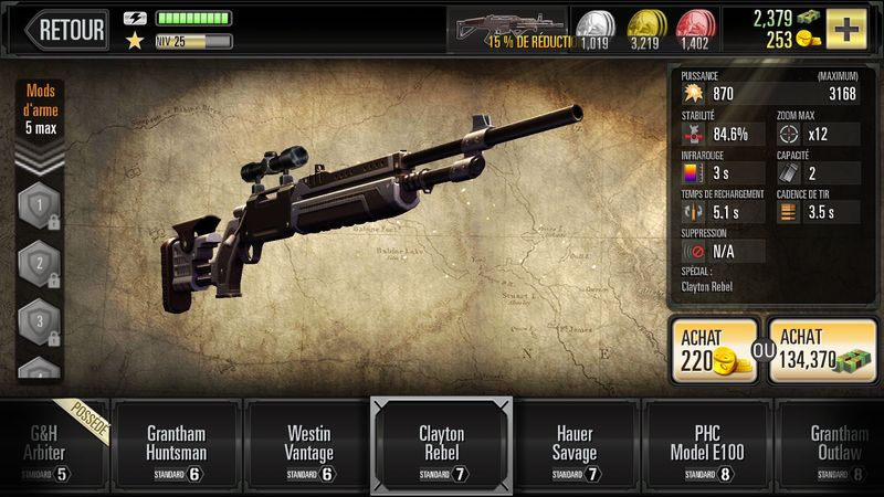 Armement disponible dans Deer Hunter