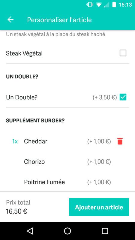 Selectionner des options sur Deliveroo