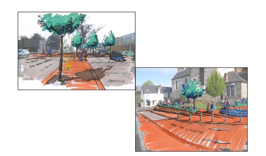 ville de Vern sur seiche - centre bourg - Réalisation ABE