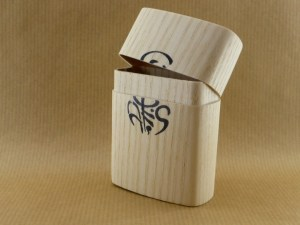 large cigarette box worked in chestnut wood shown open