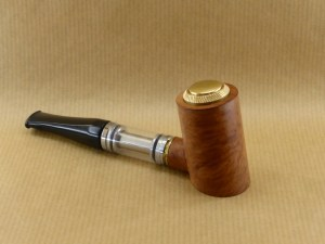 "right side view of my electronic pipe ""reverse poker"" worked in briar wood with ebonite stem"