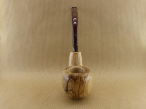 "front side view of my ""Oom spoon"". very nice tobacco pipe worked in olive wood with oom shape"