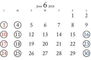 銀座店6月カレンダー