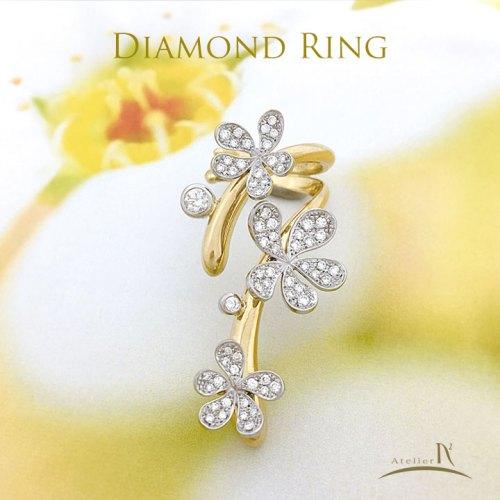 Pt900 K18ダイヤモンドリング