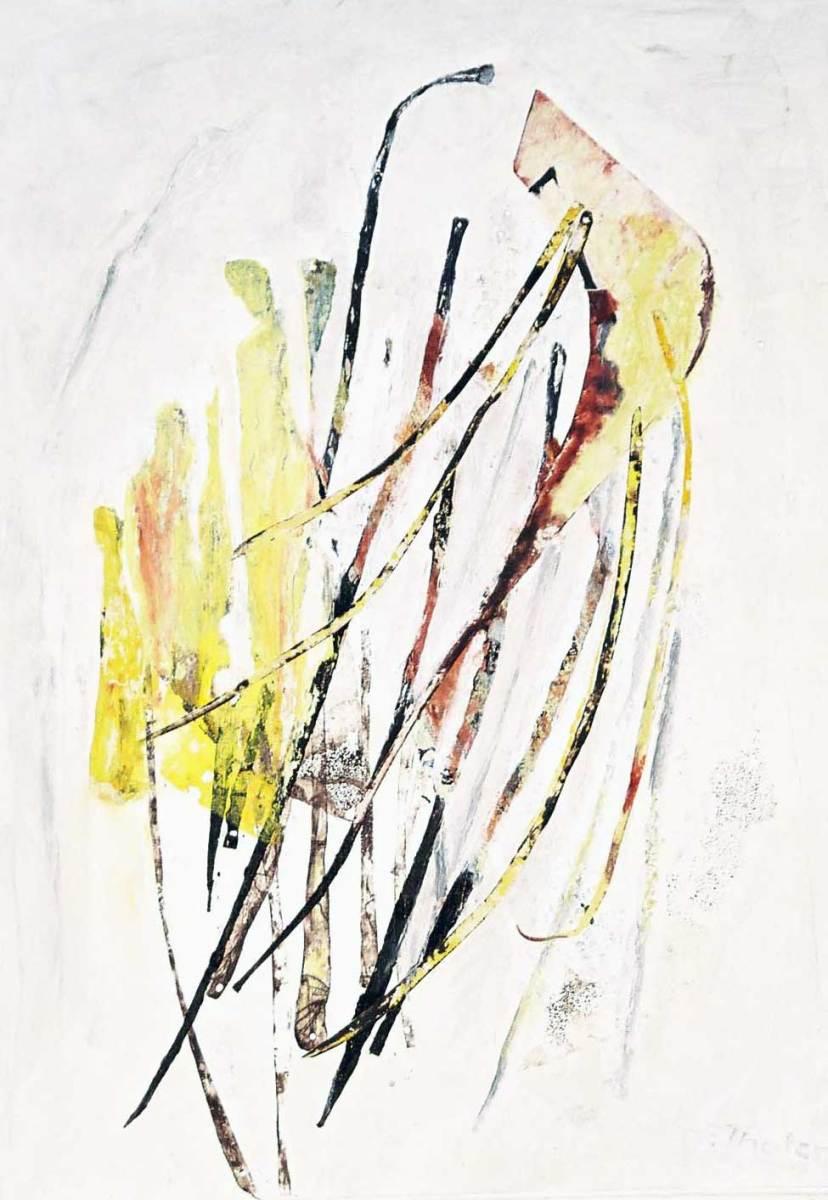 Figuren vor Gehölz auf Leinwand, 50x70