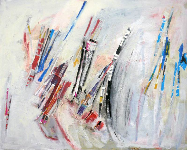 Schwebend im Raum Collage, Acryl auf Leinwand, 100x80