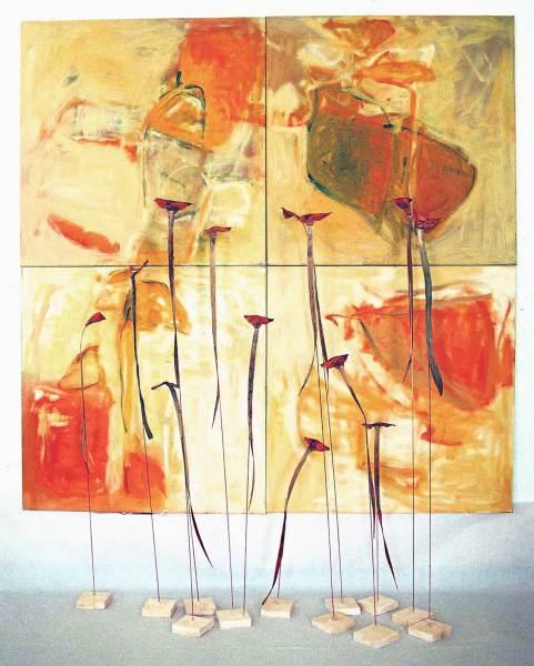 Gestalten im Licht, 4 Quadrate, Acryl, 160x160 , Objekte aus Pflanzenteilen