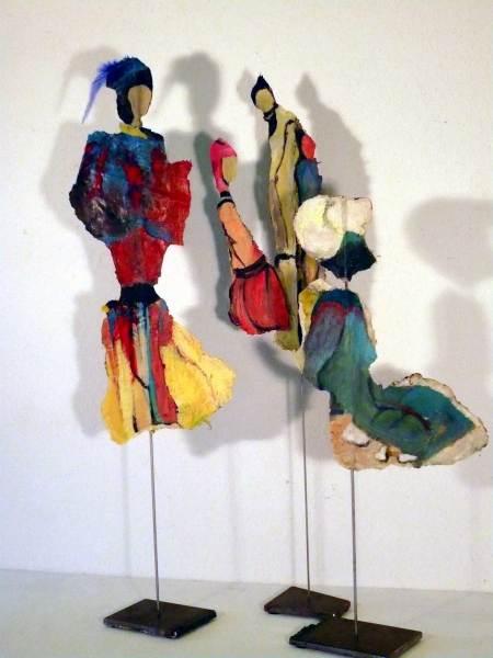 Kunst am Stiel, Papier, Acryl, beidseitig bearbeitet, Höhe 85cm