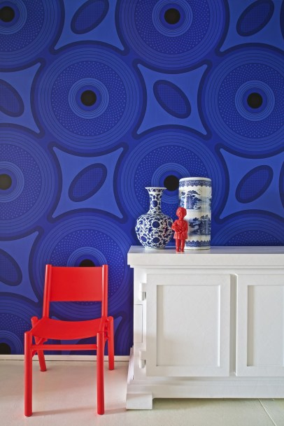 South African Print Textile ShweShwe Wallpaper by Ghislaine Vinas For Flavor Paper