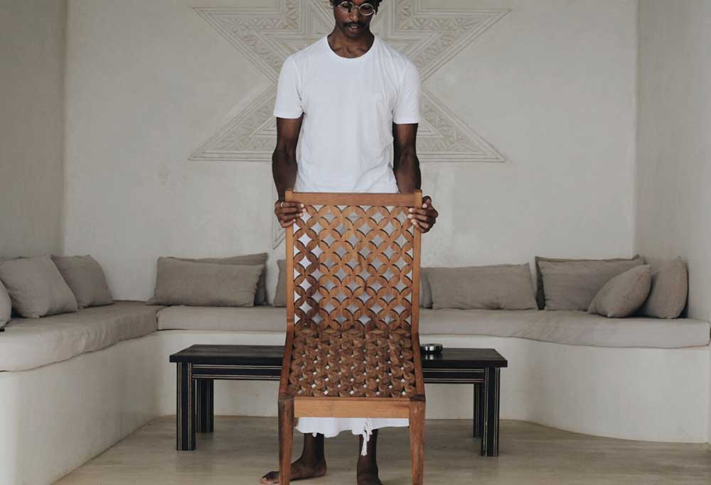 Saba Studio Wooden Hand Carved Patterned Chair