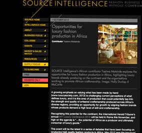 Tapiwa Matsinde Source Intelligence Magazine Ethical Fashion Forum Opportunities for luxury fashion production in Africa