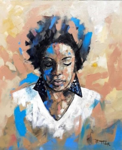 Painting of a young African woman by contemporary Tanzanian artist Happy Chikoyo Robert credit Fairmont Hotel and Resorts