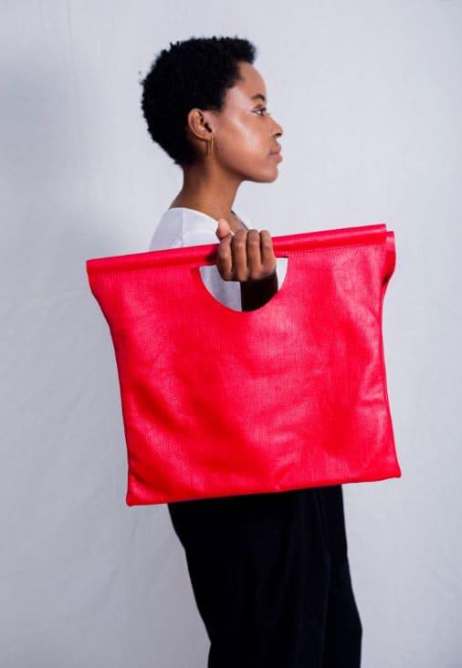 Kova Namibia red leather tote