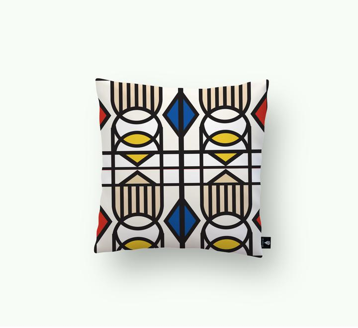 Lulas Clan Geometric Balance_ Red Accents Scatter Cushion