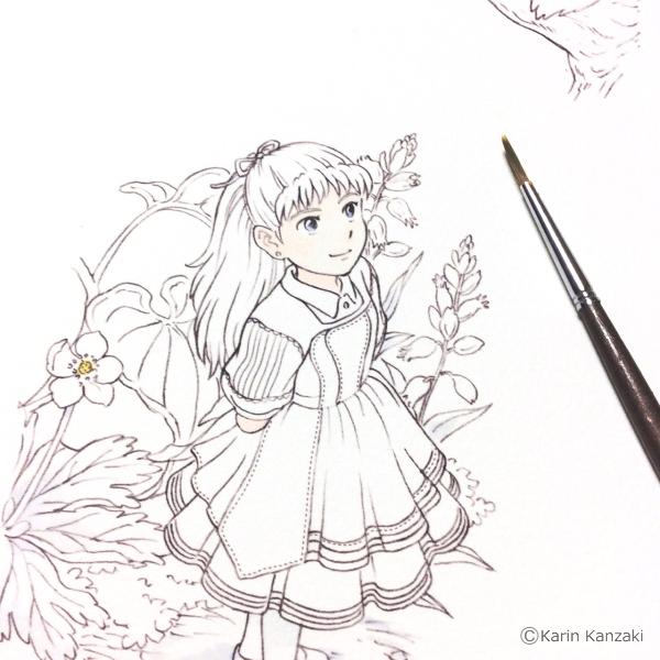 アリス水彩画