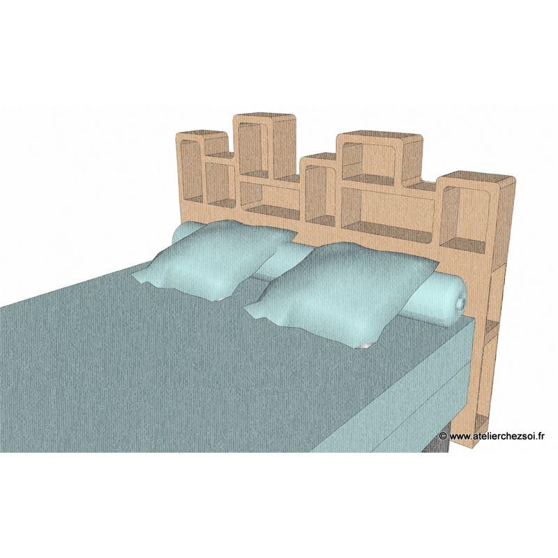 patron meuble en carton tete de lit haustin 2 personnes